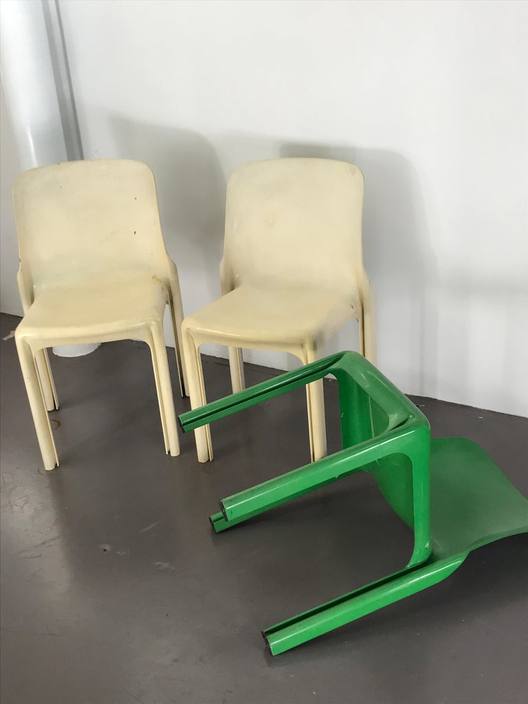 Mid Century Modern Vico Magistretti for Artemide Acrylic Selene Chairs, 1969