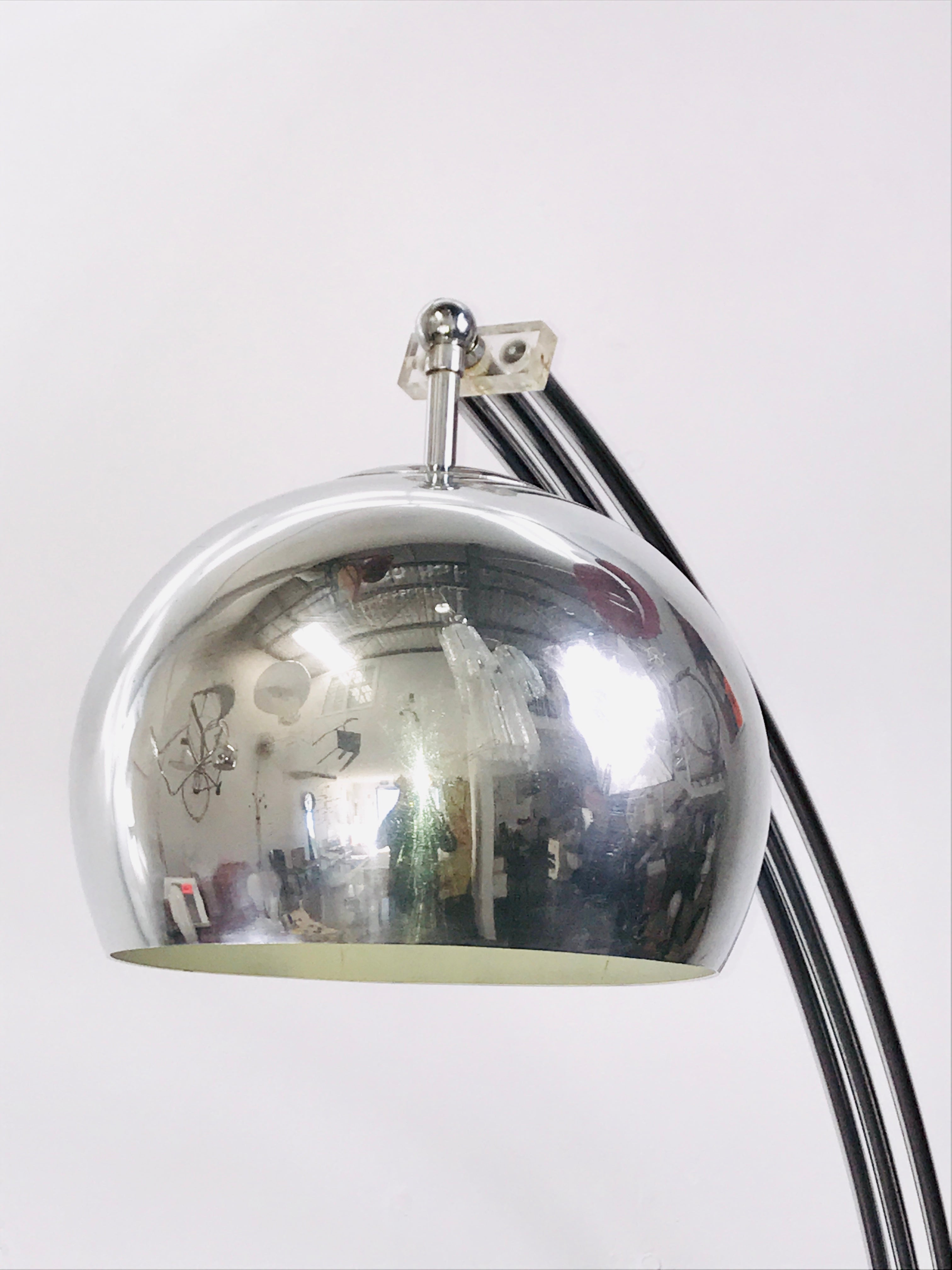 Italian Midcentury chrome Arc Lamp with Marble Base, 1960s