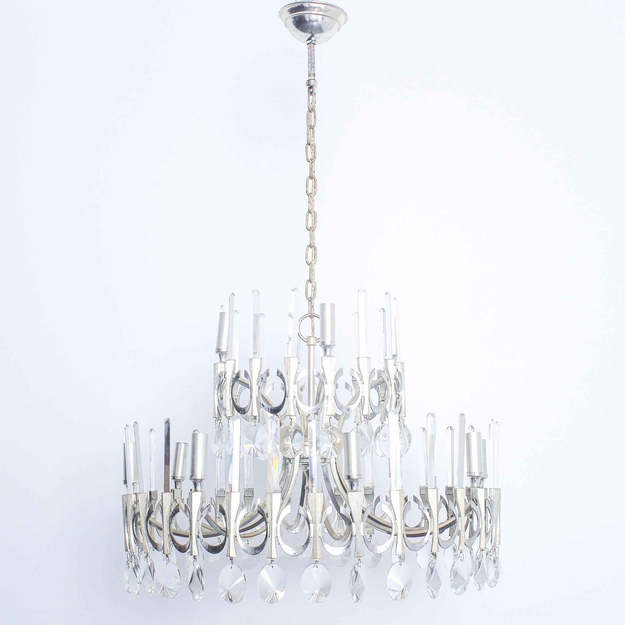 Image of: Mid Century Modern Silver Plated Crystal Chandelier Gaetano Sciolari Lumini Collections