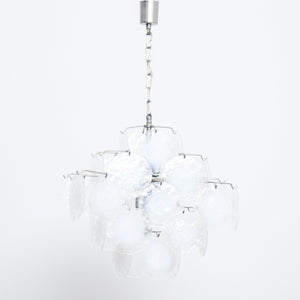 Italian Gino Vistosi 36 Blown Glass Discs Chandelier Murano