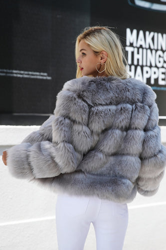VINTAGE FLUFFY FAKE FUR COAT