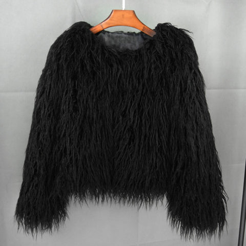 EYL BOHO FURRY FAUX SHAGGY COAT