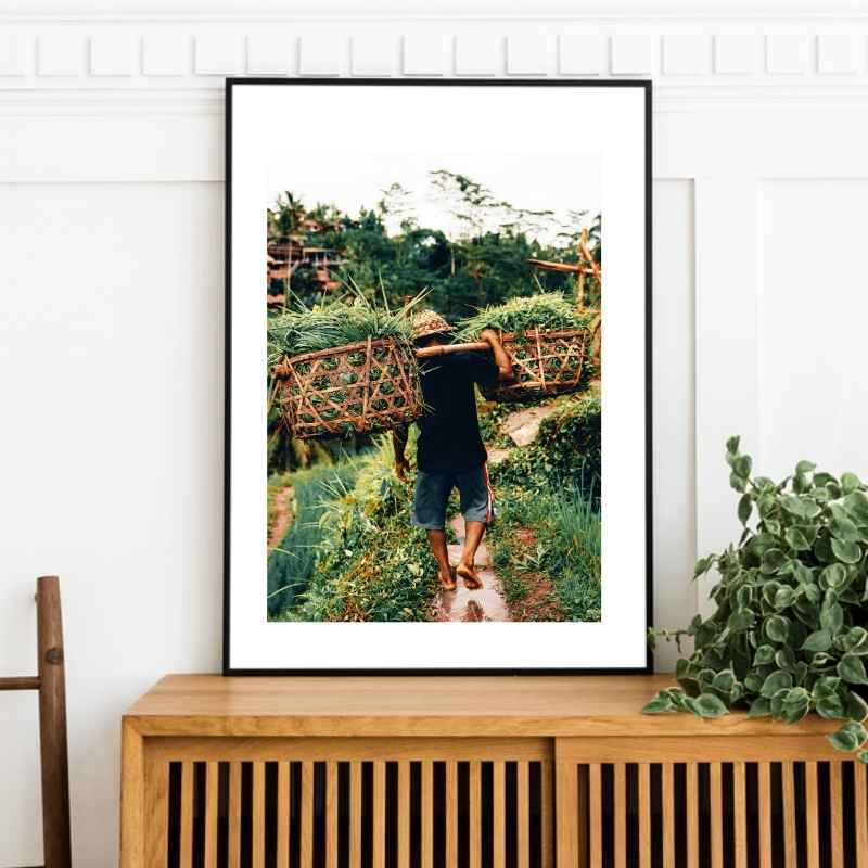 Colored wall art print of a farmer on the Bali Rice Terraces.