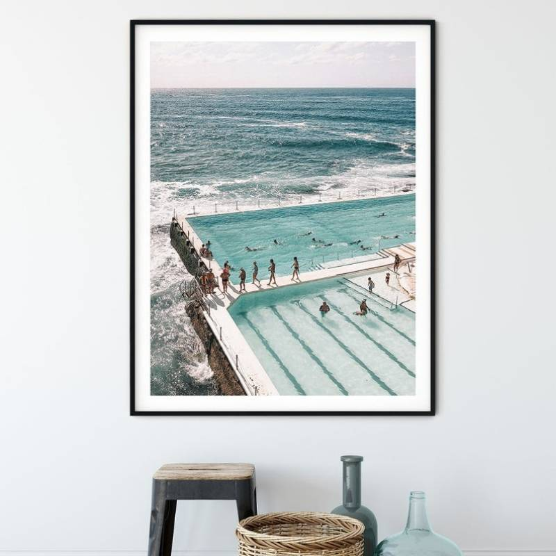 Wall art print of Bondi Iceberg pools with a view of the beach.