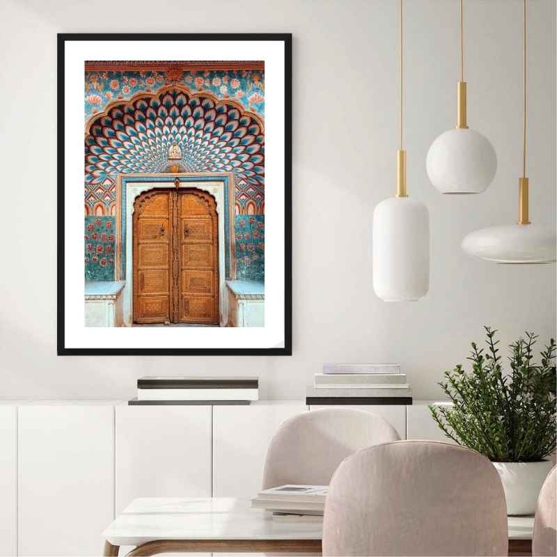 wall art print of a traditional, colorful and beautifully intricate door in India