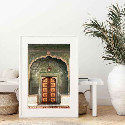 framed wall art print of a traditional, colorful and beautifully intricate Indian door