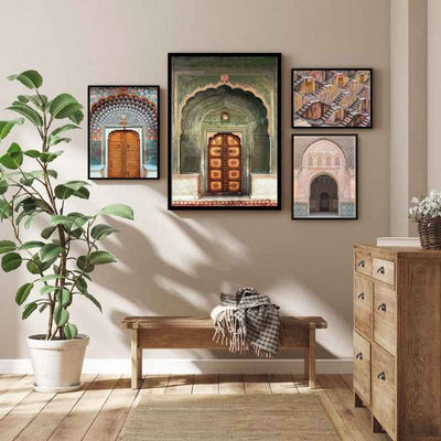 living room gallery wall of framed India themed wall art prints