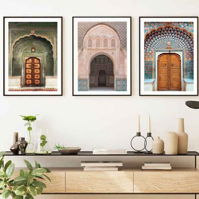 3 wall art print of a traditional, colorful and beautifully intricate Indian doors in a living room