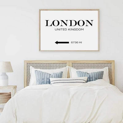 Custom destination wall art print in a bedroom