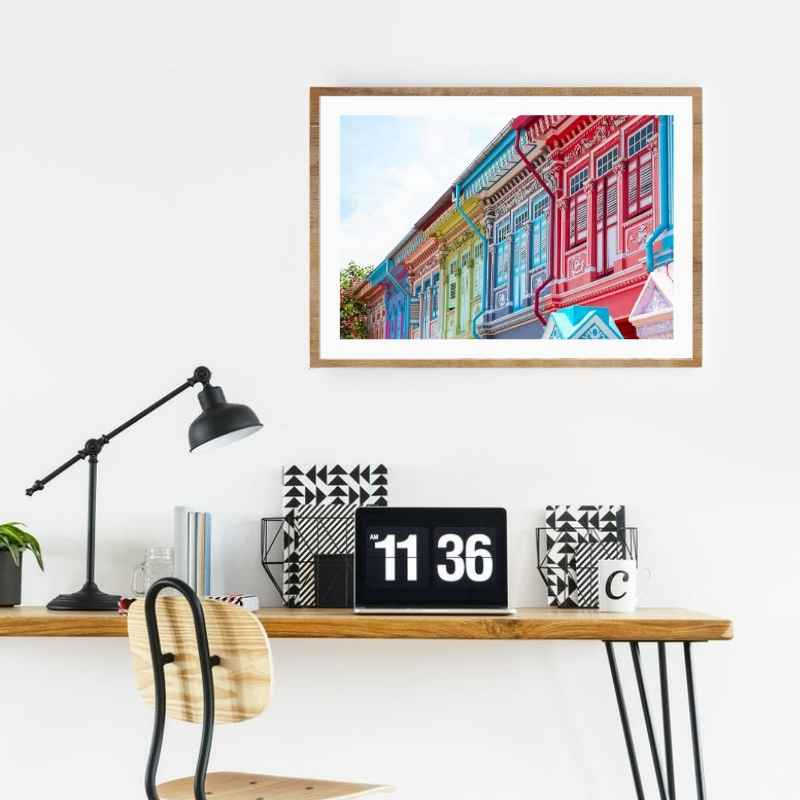Wall art print of the famous Joo Chiat shop houses.