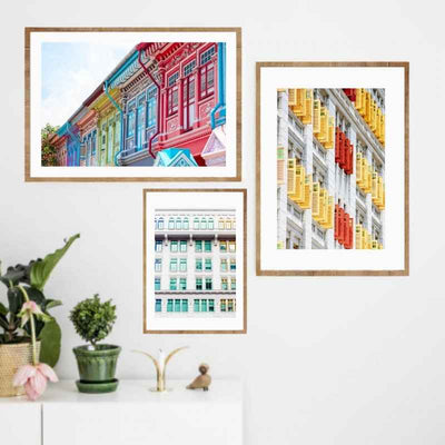 Gallery wall with 3 Wall art print of the famous Joo Chiat shop houses and Old Hill Police station.