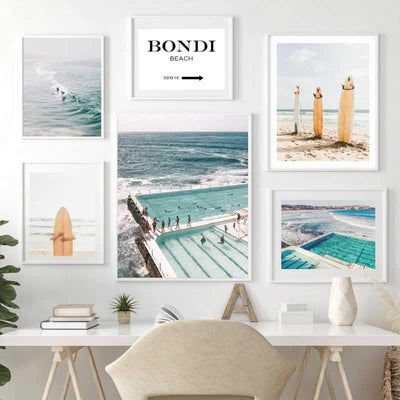 Gallery wall with 6 beach themed wall art print