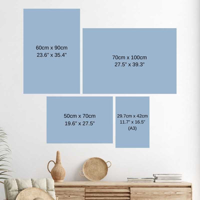 Wall art size guide.
