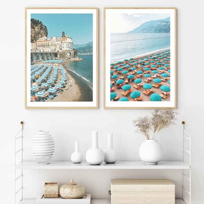 Framed wall art prints of European beaches.