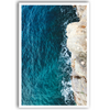 Stylish and affordable wall art print of an aerial view of a sea and cliff.