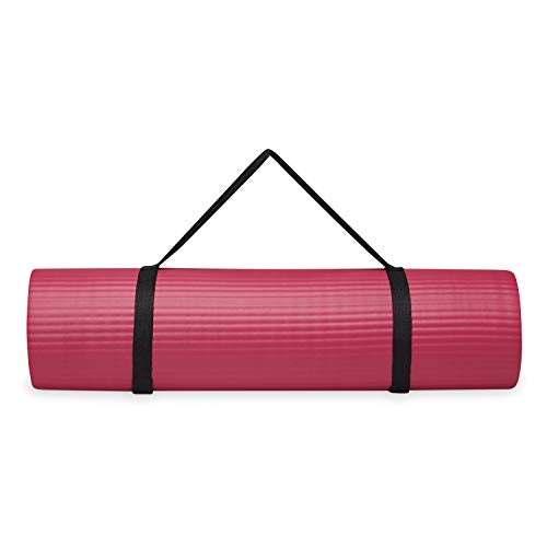 "Gaiam Essentials Thick Yoga Mat Fitness & Exercise Mat With Easy-Cinch Yoga Mat Carrier Strap, Pink, 72""L X 24""W X 2/5 Inch Thick"