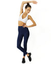 High Waisted Yoga Leggings - Navy Blue - GlamRock