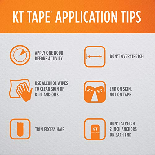 KT Tape Original Cotton Elastic Kinesiology Therapeutic Athletic Tape, 20 Precut 10 inch Strips, Black, Latex Free, Breathable, Pro & Olympic Choice