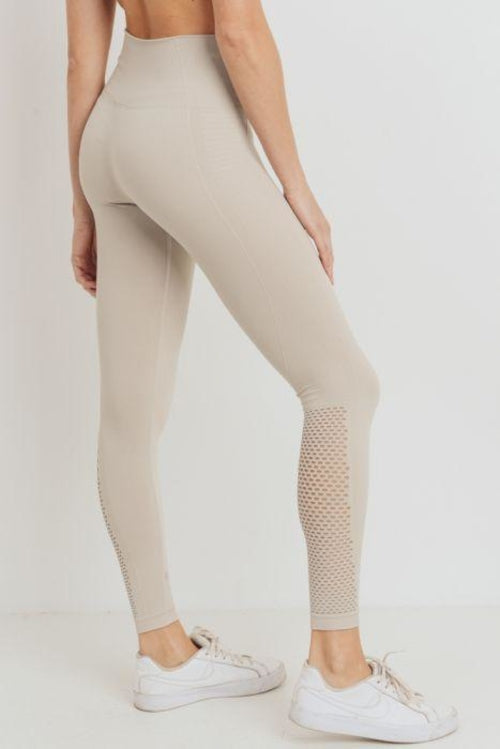 Ribbed and Perforated Seamless Highwaist Leggings - GlamRock
