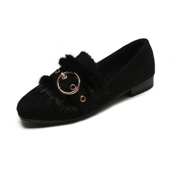 Women's Fashion Velvet Warm Flats