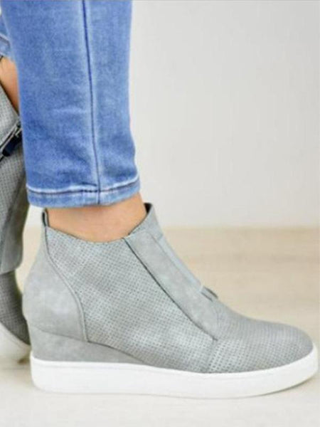 Low Heel Ankle Bootie Leather Shoes