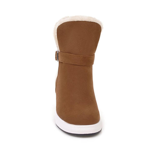 Women Thick Plush Hidden Heel Buckle Ankle Snow Boots