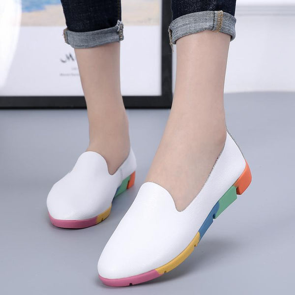 Women's Leather Casual Peas Shoes