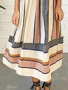5ccebb006b0 Apricot A-line Women Going Out Cotton Spaghetti Casual Paneled Striped  Floral Dress