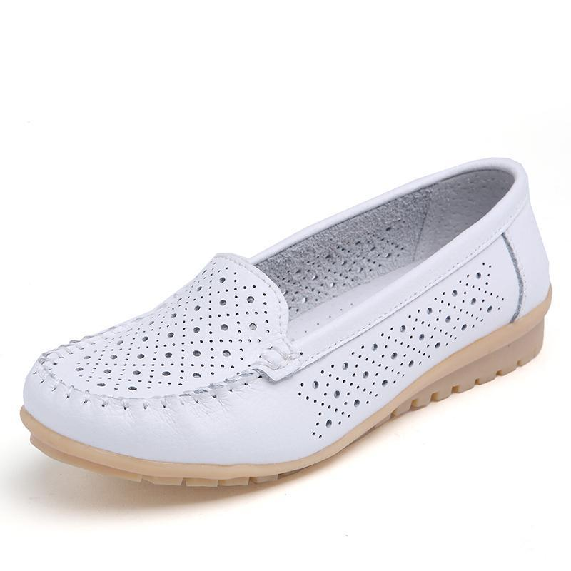Women's Loafers Leather Casual Fashion Loafer Flat Slip-on Shoes Walking Driving Shoe