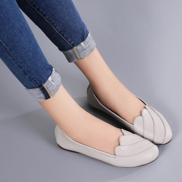 Women Soft Genuine Leather Pea Loafers