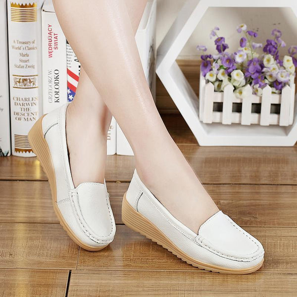 Women's Genuine Leather Slip-on Wedge Loafers