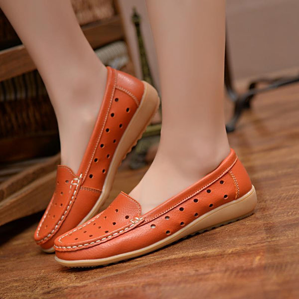 Women's Spring High Quality Leather Hollow Loafers