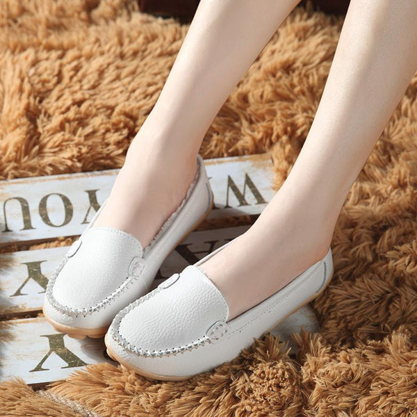 Women Winter Plush Cow Leather Shoes Warm Moccasins Shoes Woman Slip On Female Flats Fur Loafers