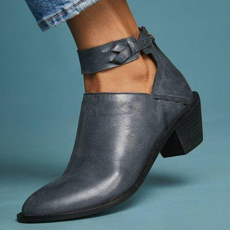 Women Plus Size Chunky Heel Booties Daily Zipper Boots - SHOEKY