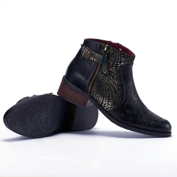 Women Vintage Flower Pattern Genuine Leather Splicing Jacquard Boots