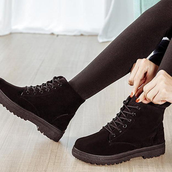 Women Flat Canvas Boots Fashion Punk Shoes