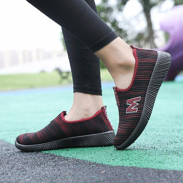 Women's Casual Fly Kint Outdoor Breathable Soft Flat Shoe
