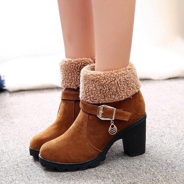 Suede Chunky Heel Ankle Women Slip-On Round Toe Boots - SHOEKY
