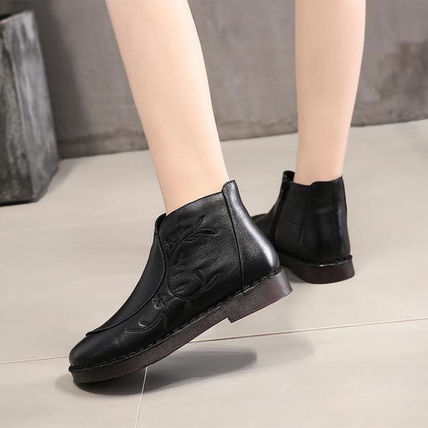 Women Embroidery Genuine Leather Zip Ankle Boots