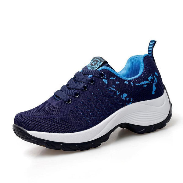 Women Thick-bottomed Rocking Woven Knit Sneakers