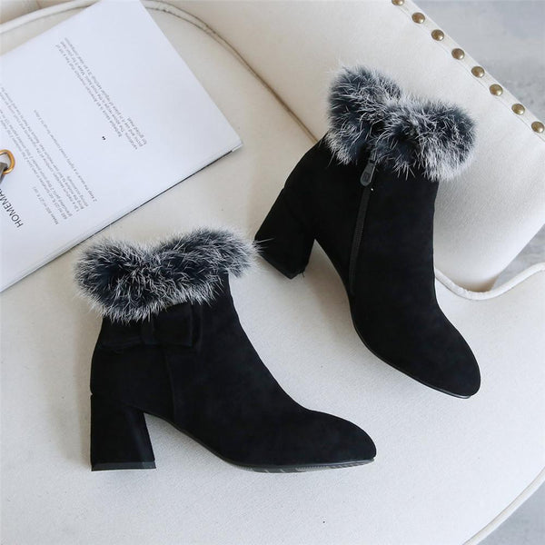 Women Faux Fur Block Heel Ankle Boots