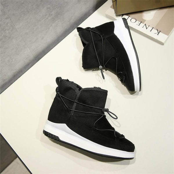 Women's Flat Platform Fur Lined Casual Ankle Sneakers Boots