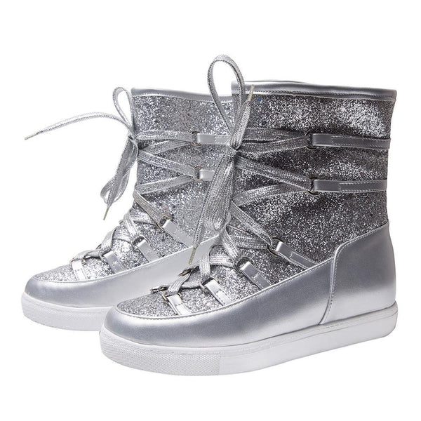 Women Winter Bling Snow Platform Ankle Boots