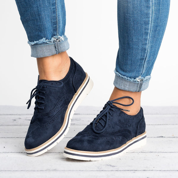 Women's British Style Brogue Lace-up Loafers