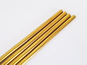 Gold Tall Straws Stainless Steel: Pack of 4 plus Cleaning Brush