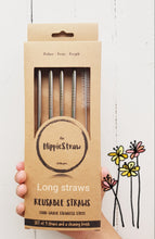 Load image into Gallery viewer, Tall Straws Stainless Steel: Pack of 4 plus Cleaning Brush