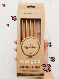 Rose Gold Stainless Steel: Pack of 4 plus Cleaning Brush