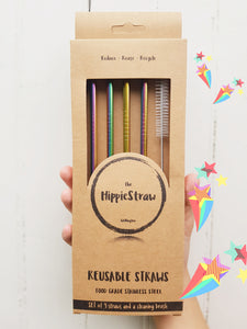 Rainbow Long Stainless Steel Straws: Pack of 4 plus Cleaning Brush