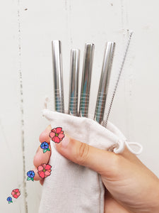 Smoothie Straws Stainless Steel: Pack of 4 plus Cleaning Brush