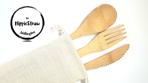 Bamboo Cutlery Set with Cotton Case